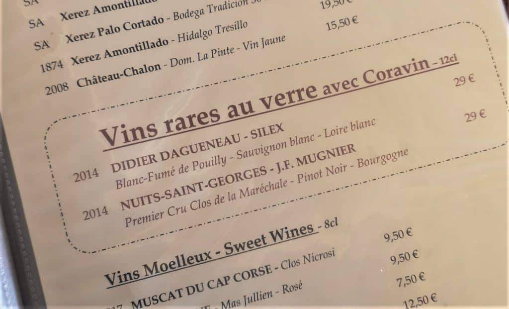 extrait de la carte des vins du petit sommelier, restaurant de vin à paris