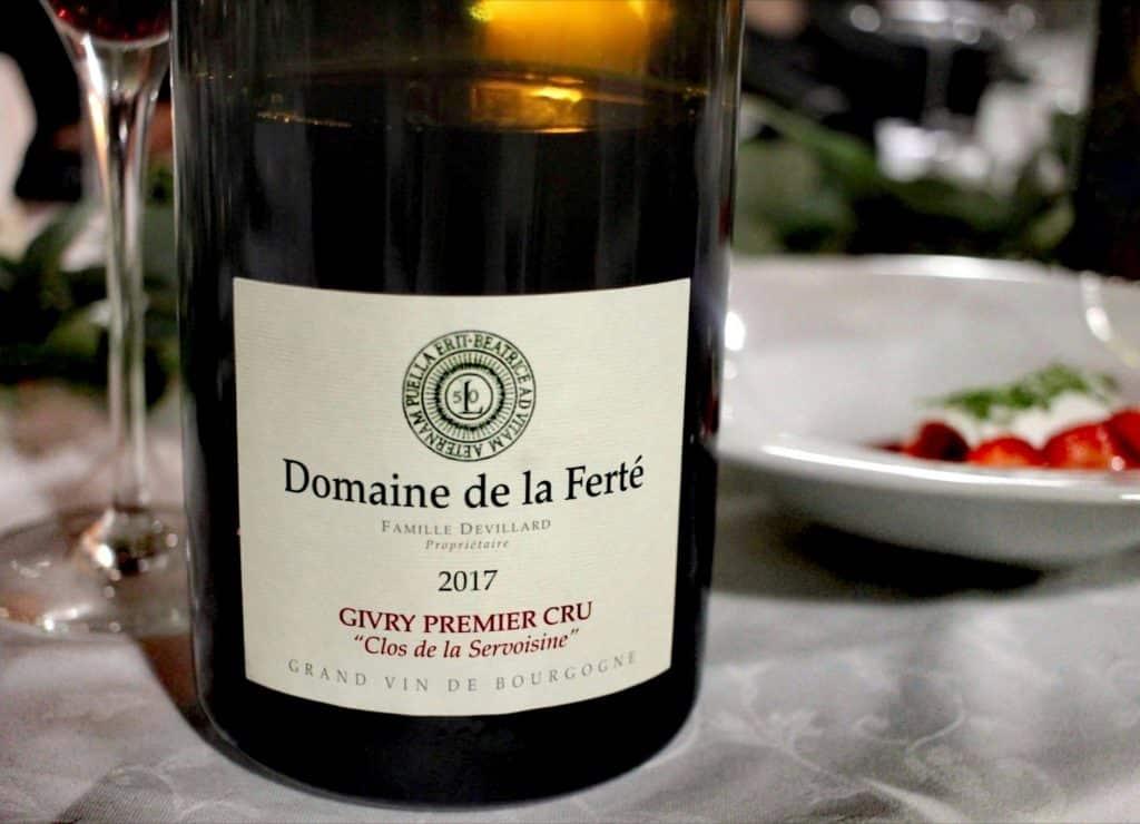 Givry Premier Cru du Domaine de la Ferté : Clos de la Servoisine 2017 servi lors de Dîner en Vignes