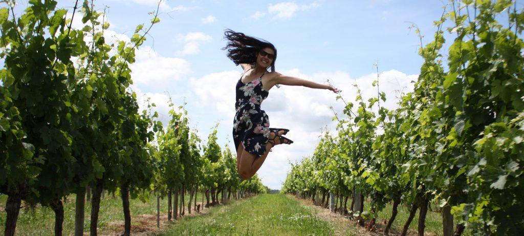 Je saute dans les vignes bordelaises, logo de mon blog vin et oenotourisme