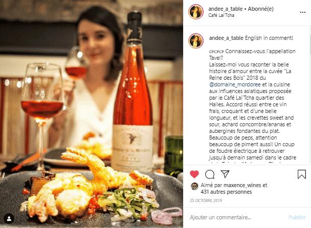 Tavel et cuisine asiatique au Café Lai'Tcha. compte instagram vin