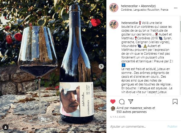 Hélène nous présente le Corbières de la toute jeune maison Aubert & Mathieu sur son compte instagram