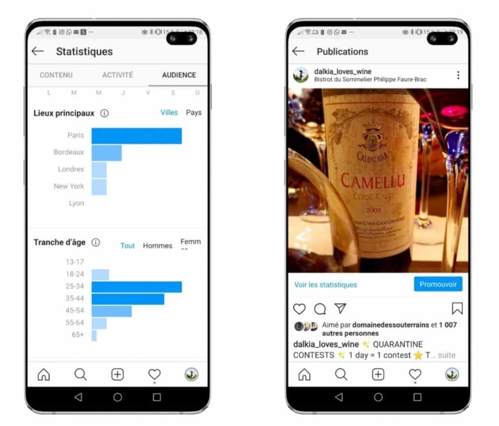 Les écrans de statistiques instagram à utiliser : stats d'audience et stats de vos posts