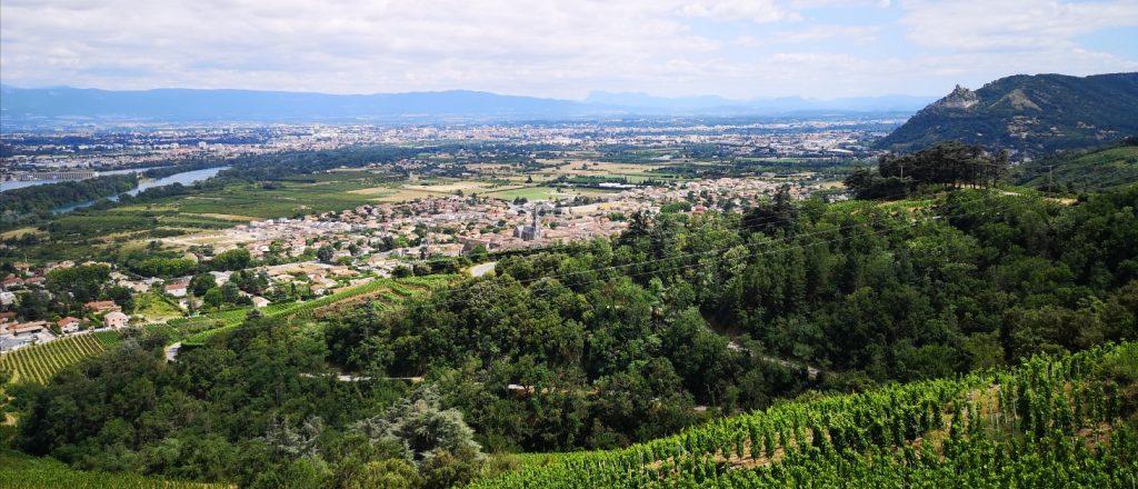 Sous nos pieds, la parcelle Les Ruchets de Colombo. A gauche, le Rhône, à droite, le Château de Crussol sur son pic rocheux